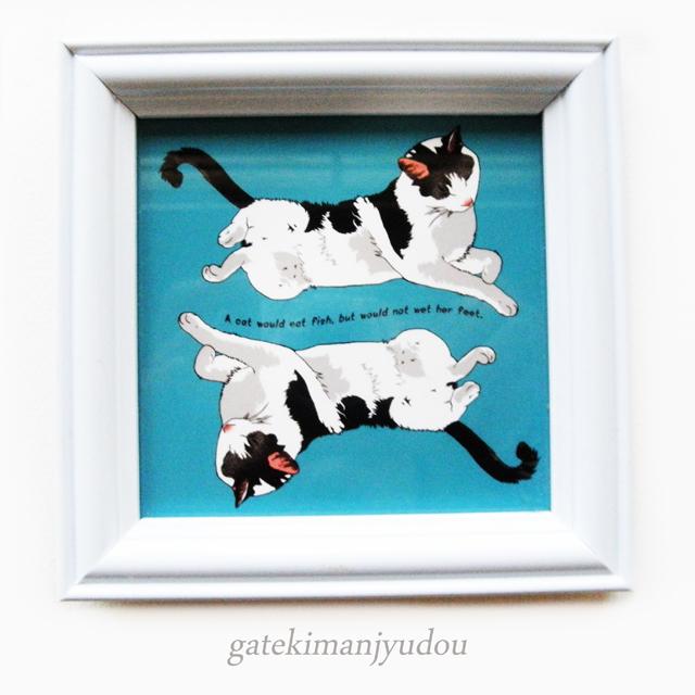 猫のイラストの小さめフレーム/WH-3