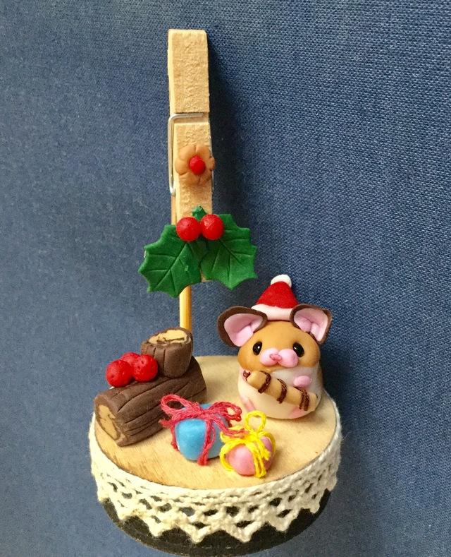 ハムスターのメモスタンド(クリスマスver.)