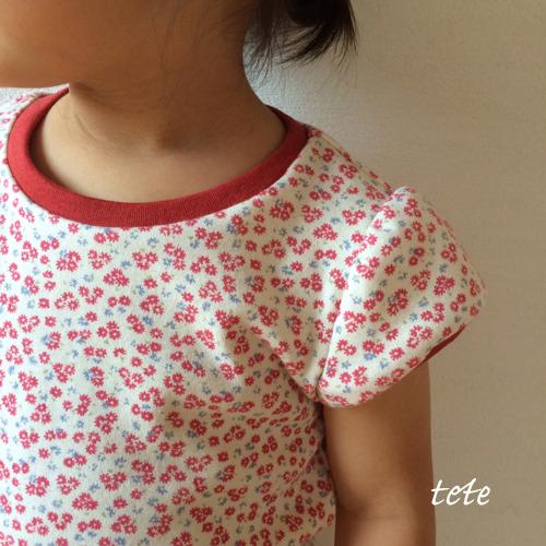 【size100】キッズ パフスリーブTシャツ(小花レッド)