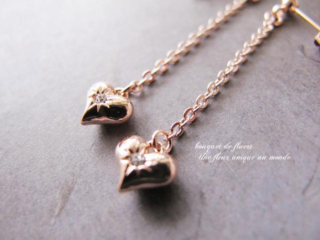 * LOVE * ピンクゴールドハート ロング...
