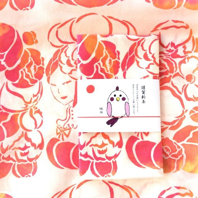 無料熨斗☆冬のてぬぐい「椿姫」
