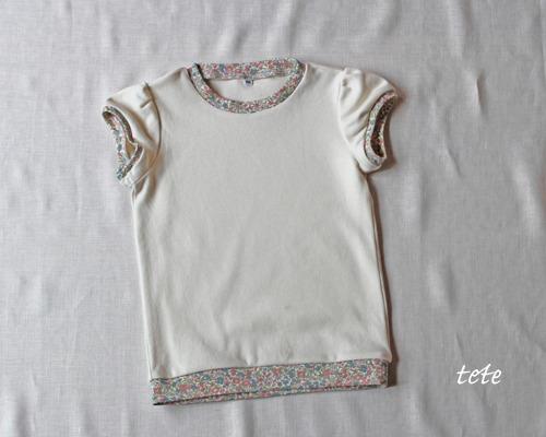 【size100】キッズ パフスリーブTシャツ(生成×プチフラワー)
