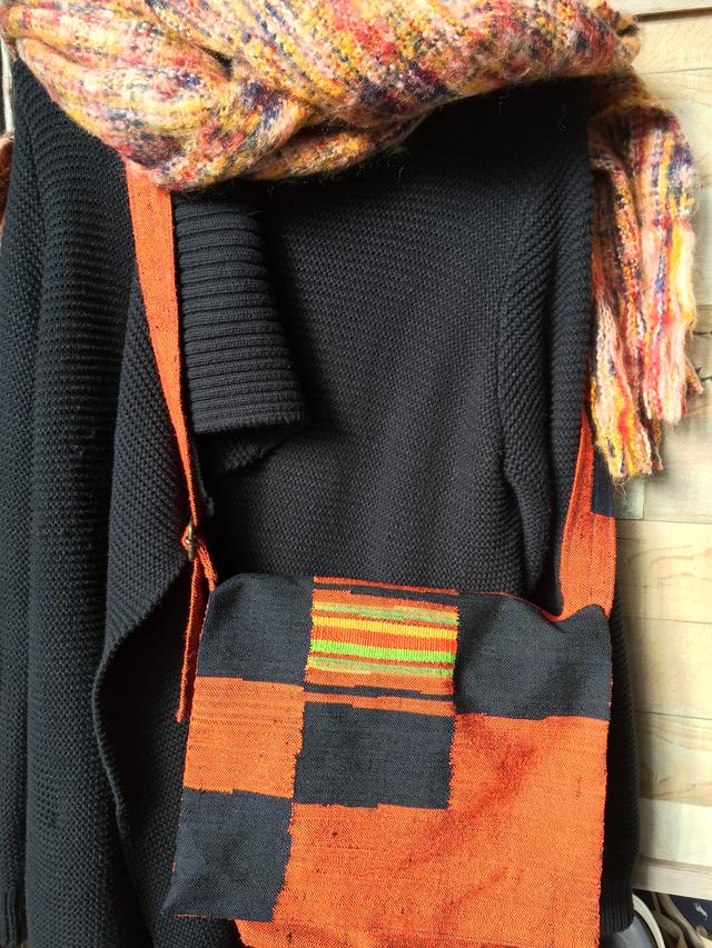 紬茶系帯リメイク肩掛けバッグ
