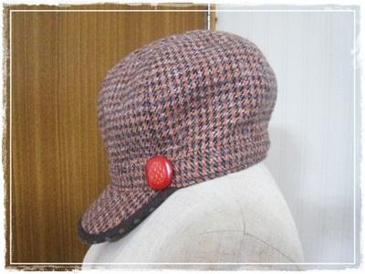 千鳥格子RIDING  CAP(オレンジ)
