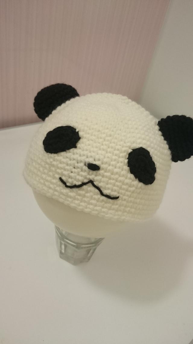 被り物感覚で♪パンダのニット帽子44~48センチ