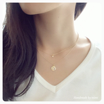 Zirconia&Coin Double Necklace