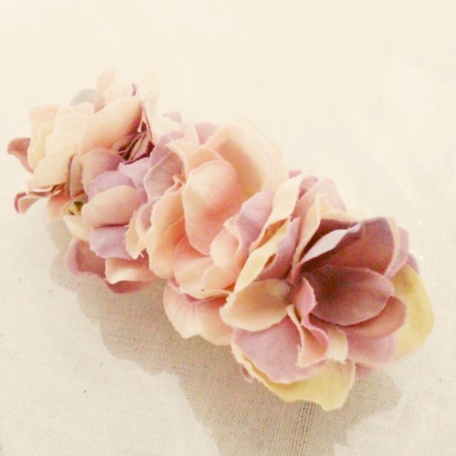 ほんわり紫陽花のバレッタ01(L)