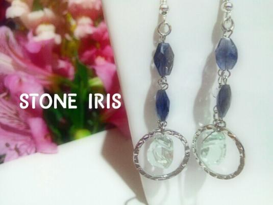 ◆宝石質グリーンアメジスト&アイオライトのシルバーピアス
