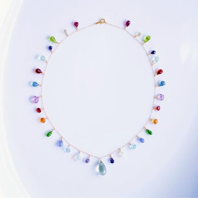 K18マルチカラー天然石のネックレス 〜...