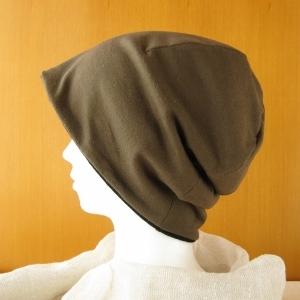 ゆるいリバーシブル帽子 カーキ/黒起毛(CSR-006-K)