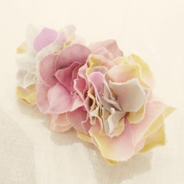 ほんわり紫陽花のバレッタ03(M)