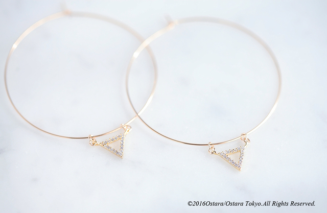 【14KGF】Hoop Earrings,CZ Triangle