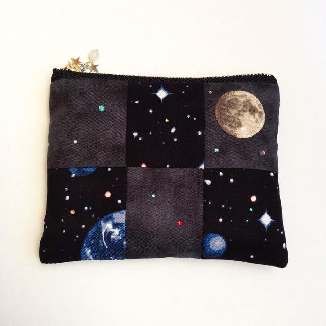 月と宇宙のミニポーチ