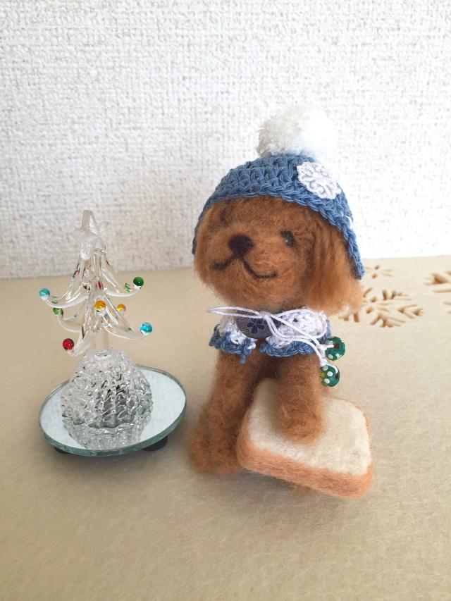 羊毛フェルト トイプードル冬バージョン