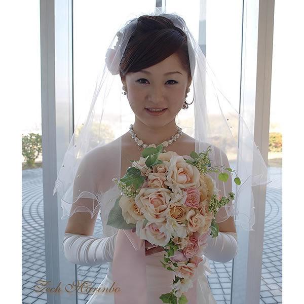 45922a39d0752 ウェディング ショートベール メロウ&パール 結婚式