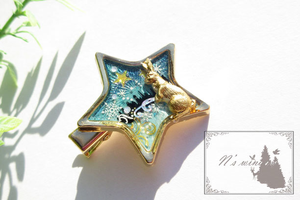 星とウサギのストールピン
