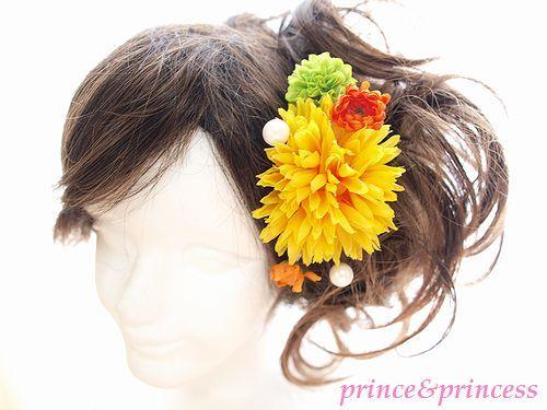 イエローマムの髪飾り*浴衣セット*