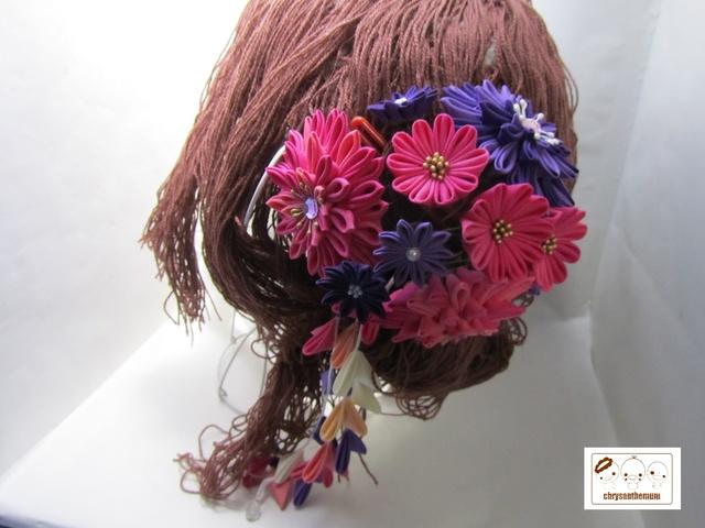 【NEW!】紫とピンクのつまみ細工かんざし