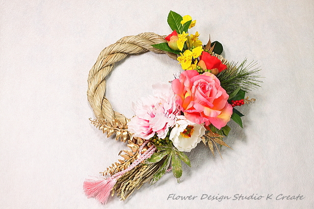 薔薇と牡丹のお正月飾り
