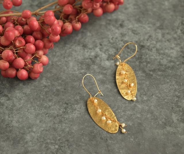 【Brass plate series】葉っぱと実のピアス