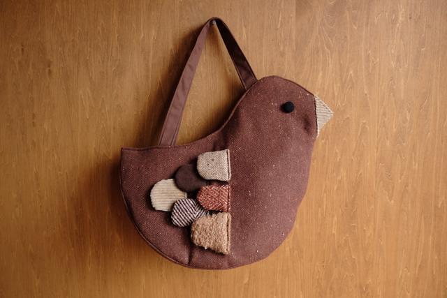 鳥さんトートバッグ  L brown mix