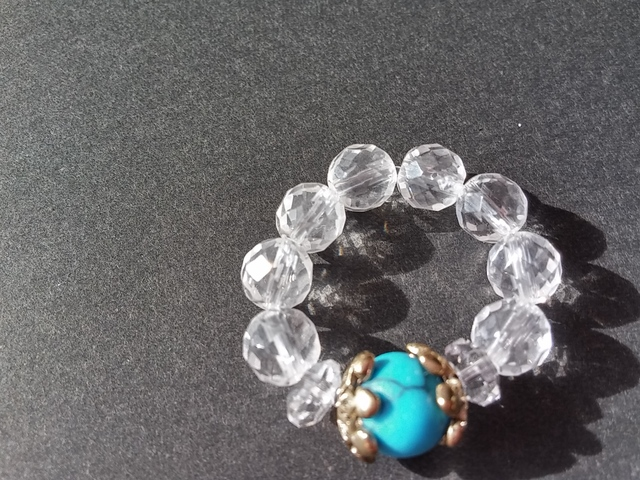 ターコイズ・水晶の指輪