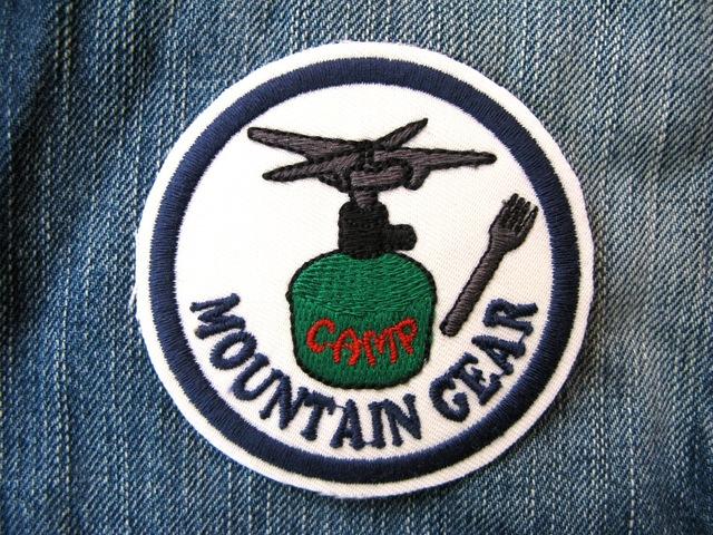アウトドア Outdoor キャンプ マウンテンギア バーナー緑 刺繍ワッペン・パッチ