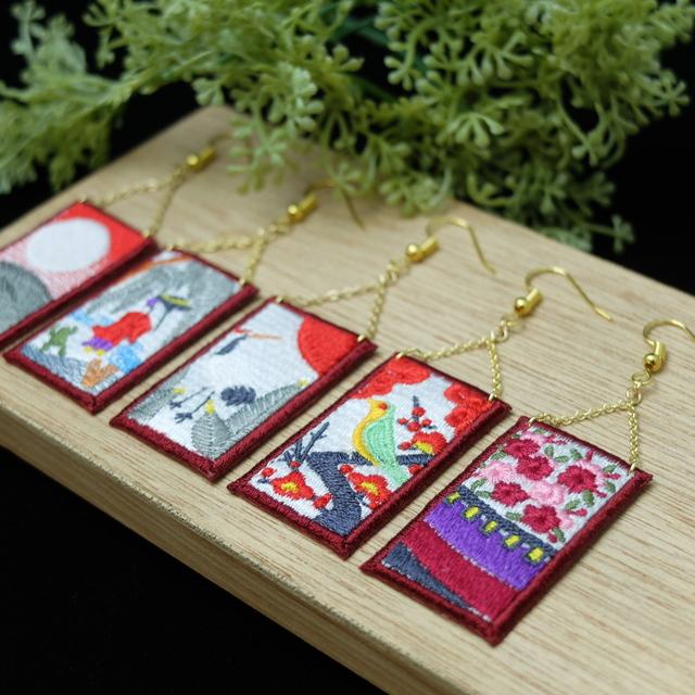 【再販5】花札の刺繍ピアス/イヤリング**