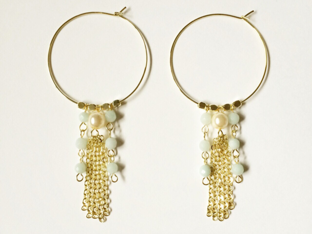 chain tassel hoop earrings