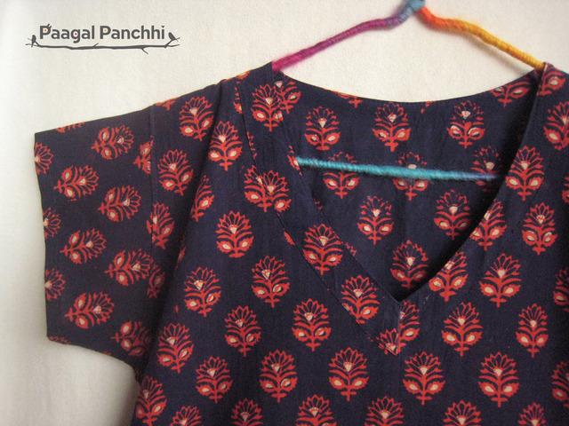 草木染め ブロックプリント 手仕事 花柄 ワンピース ブルー01