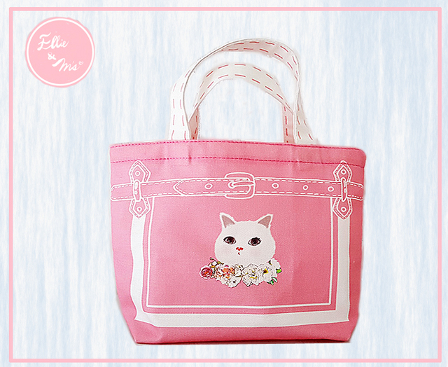 【Sale!!】白猫 大福猫のキュートなピンクトート