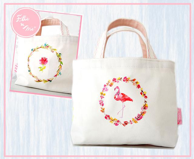 【Sale!!】フラミンゴと薔薇 ふたつの顔のトート