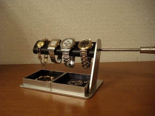 男性へプレゼント ドライバーでだ円パイプの角度を変えることが出来る腕時計スタンド ダブルでかいトレイ付き