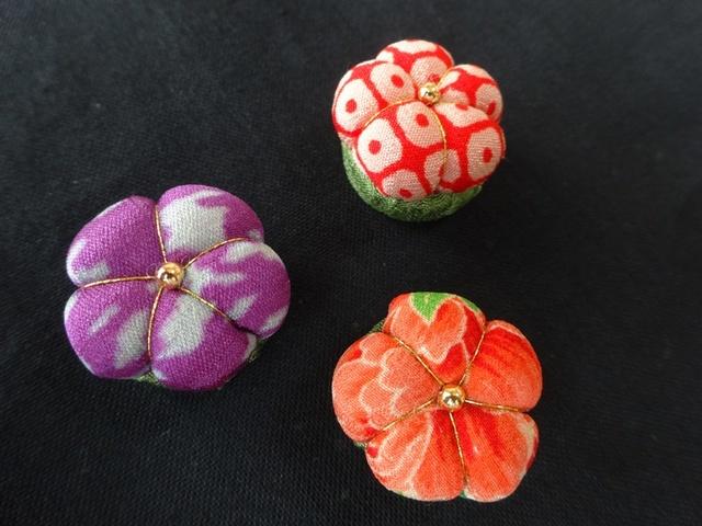 古布 お花のマグネット 3個セット no14