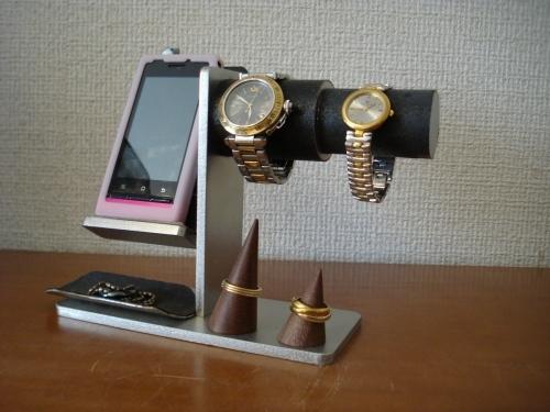 時計、リング、その他アクセサリー収納スタンド スマホスタンドブラック仕様