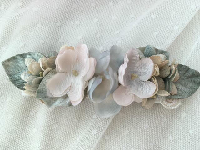 ふわふわお花とスミレのバレッタ