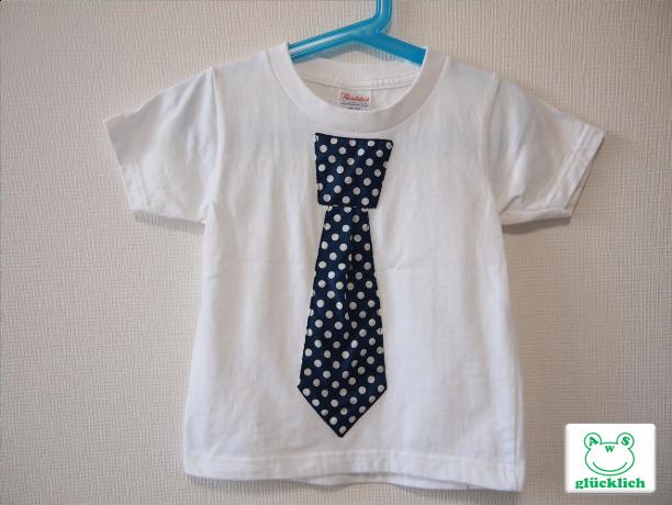 ネクタイTシャツ/100サイズ/白×水玉