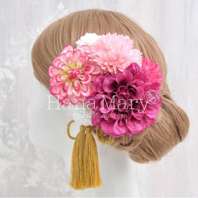ダリアとピンポンマムの髪飾り