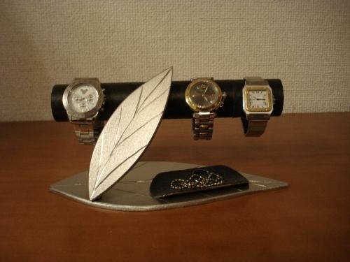 プレゼントに ダブルリーフトレイ付き時計インテリア収納スタンド ブラック!!