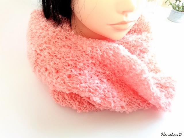 ふかふかスヌード 手編みモヘアウール
