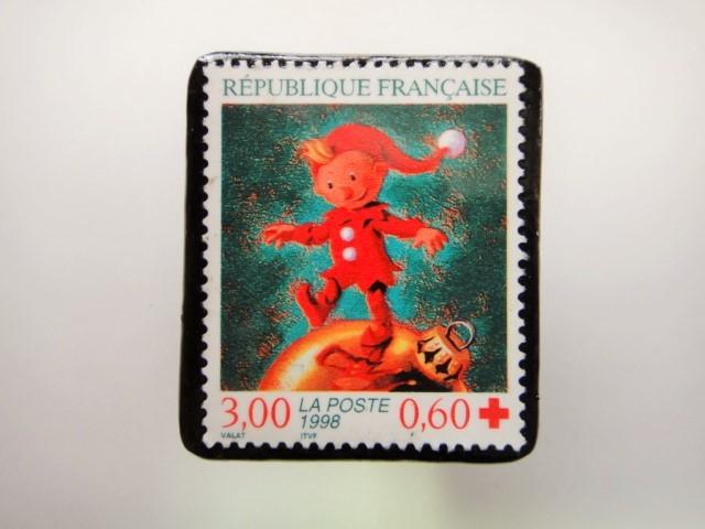 フランス クリスマス切手ブローチ2014