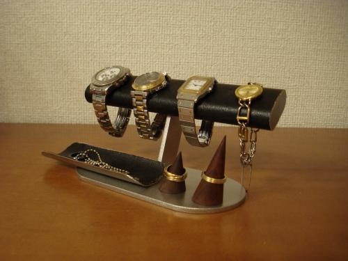 人気!腕時計、リングスタンド、小物トレイ付 だ円パイプブラックアクセサリースタンド  ak-design