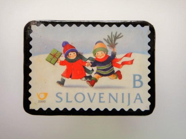 スロベニア クリスマス切手ブローチ2023