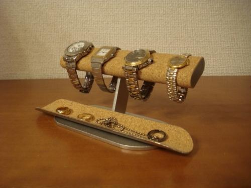 プレゼントに最適!だ円ロングトレイ4本掛け腕時計スタンド ak-design