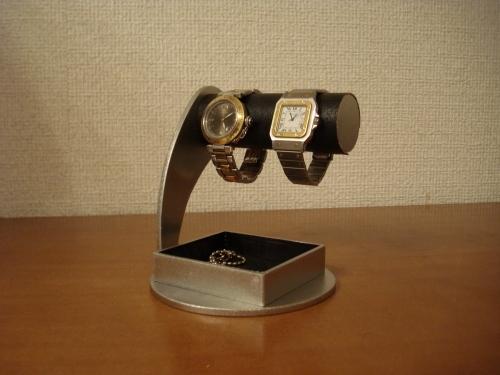 ブラック丸台座でかい角トレイ2本掛け腕時計スタンド