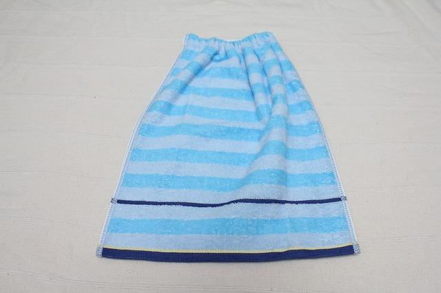タオルエプロン ボーダー青と水色