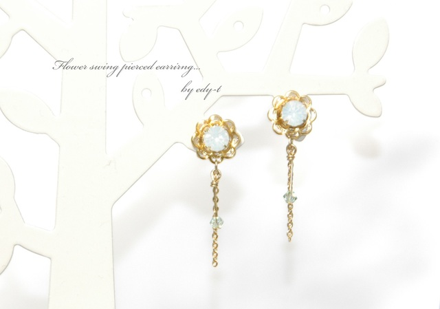 flower swing pierced earring
