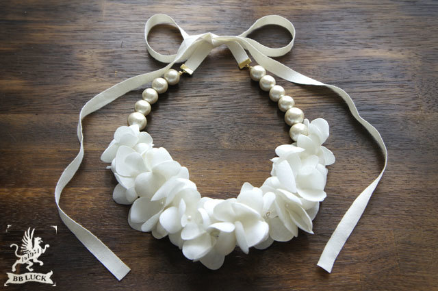 再販 necklace 【 布花ネックレス hydrangea & cotton pear * off white 】