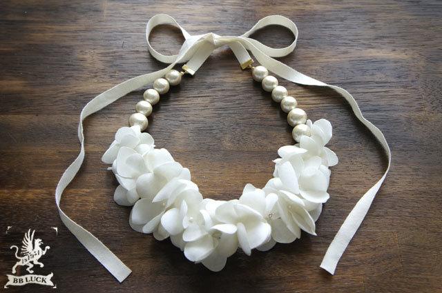 再販 * necklace 【 布花ネックレス hydrangea & cotton pear * off white 】