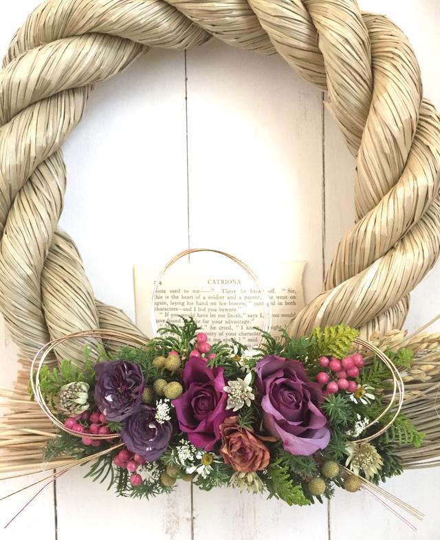 Rose しめ縄飾りリース*PR大きなサイズ